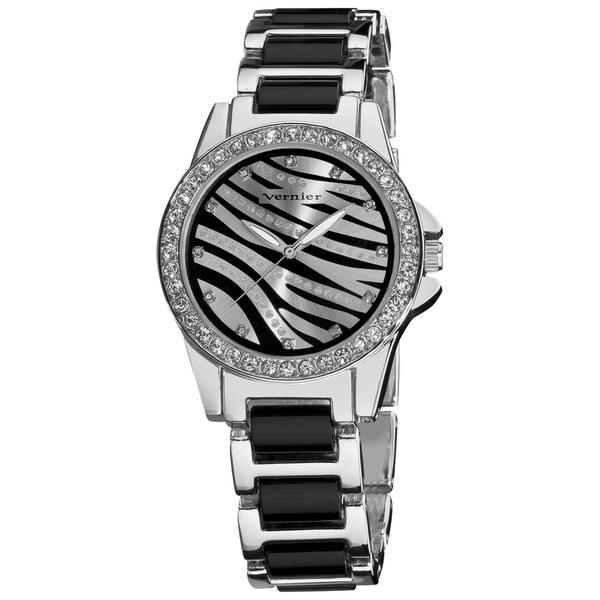 Vernier Ladies Fashion Zebra Print Genuine Crystal Stones Bracelet Watch