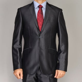 Giorgio Fiorelli Men's Shiny Black Slim-fit Suit