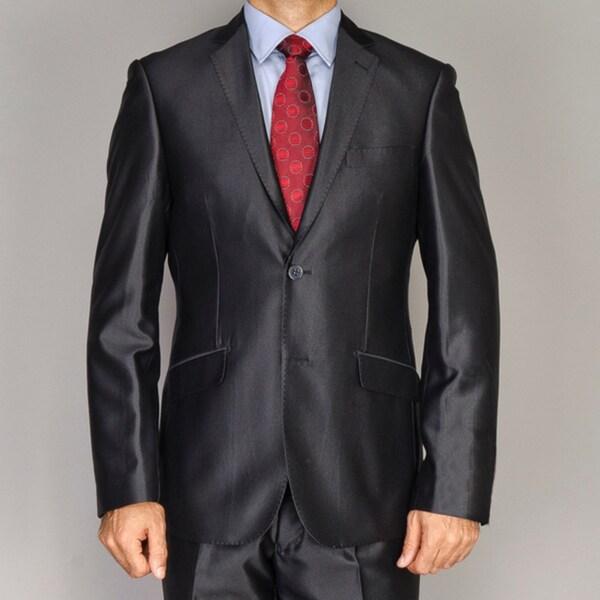 Men's Shiny Black Slim-fit Suit