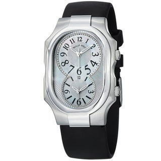 Philip Stein Women's 'Signature' Mother Of Pearl Rubber Strap Watch