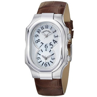 Philip Stein Women's 'Signature' Mother Of Pearl Brown Strap Watch