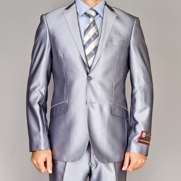 Men's Shiny Silver Slim-fit Suit