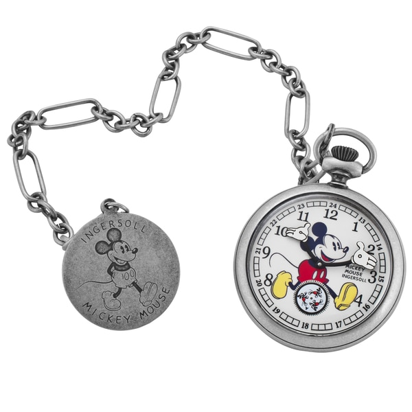 Ingersoll Women's Disney Silvertone Mechanical Pocket Watch