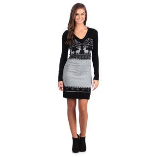 White Mark Women's 'Boston' Black/ Grey Sweater Dress