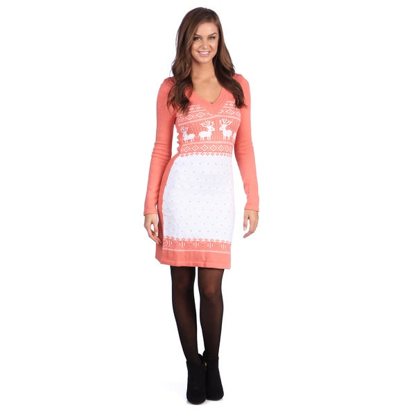 White Mark Women's 'Boston' Orange/ White Sweater Dress