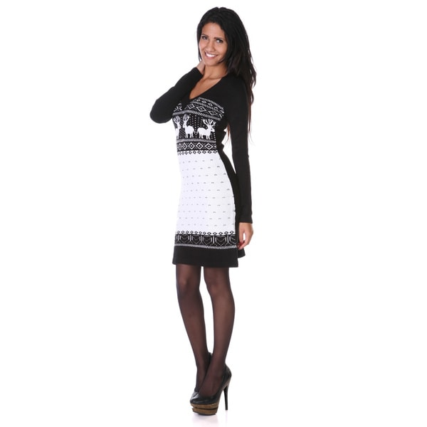 White Mark Women's 'Boston' Black/ White Sweater Dress