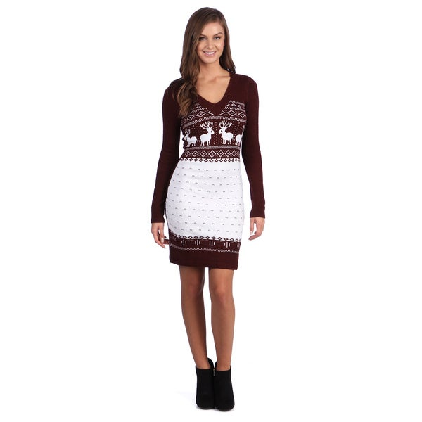 White Mark Women's 'Boston' Maroon/ White Sweater Dress