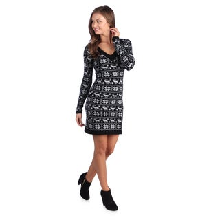 White Mark Women's 'Denver' Black/ Grey Sweater Dress