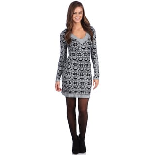 White Mark Women's 'Denver' Grey/ Black Sweater Dress