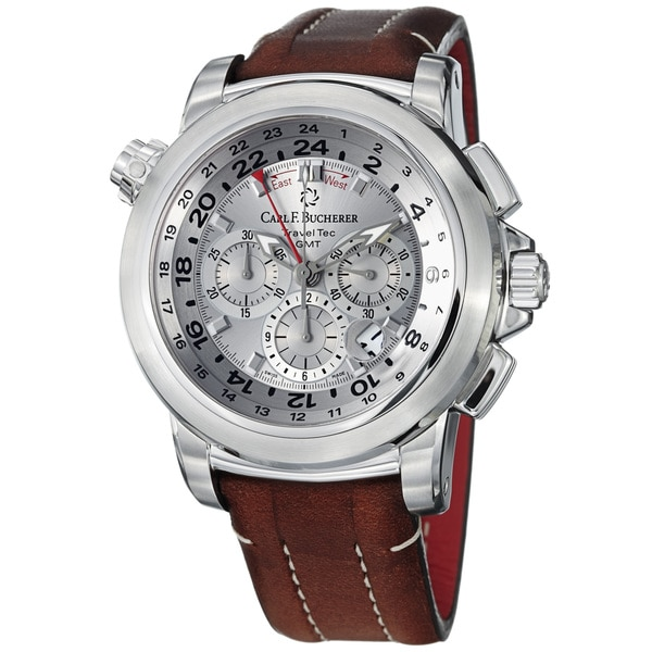 Carl F. Bucherer Men's 'Patravi' Brown Leather Strap Chronograph Watch