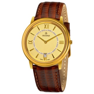 Grovana Men's Goldtone Dial Brown Leather Strap Date Quartz Watch