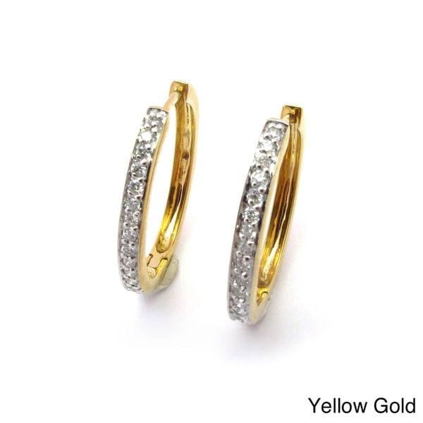 Sonia Bitton 14k Gold 1/3ct TDW Designer Diamond Hoop Earrings (G-H, SI1-SI2)