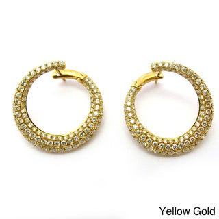 Sonia Bitton 14k Gold Designer Cape Diamond Circle Earrings