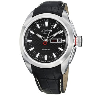 Alpina Men's 'Club' Black Dial Black Leather Strap Day Date Watch