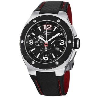 Alpina Men's AL-352LBR5AR6 'Club' Black Dial Leather Strap Chronograph Quartz Watch
