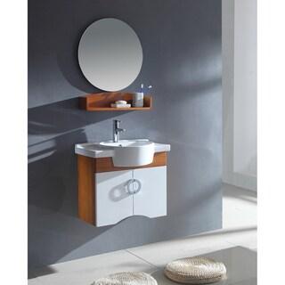 Ceramic Sink Top Single Sink Bathroom Vanity with Round Mirror