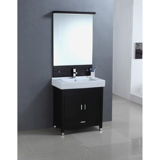 Ceramic Sink Top Single Sink Bathroom Vanity with Matching Mirror