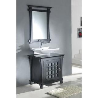 Wood Top Single Sink Bathroom Vanity with Matching Mirror