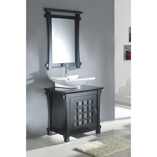 Unique  Top 24inch Sink Cherry Bathroom Vanity And Matching Framed Mirror