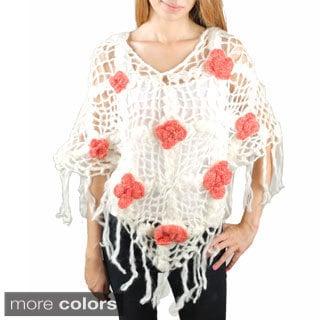 Rose Knit Woolen Poncho (Nepal)