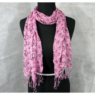 'Peace Sign' Scarf Wrap Medium Pink with Black Peace Signs