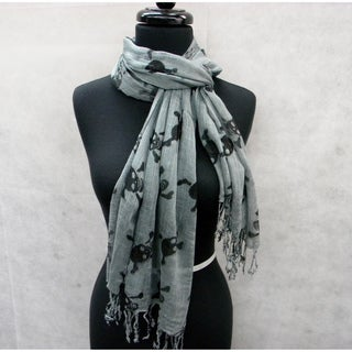Grey Skull and Bones Fashion Scarf
