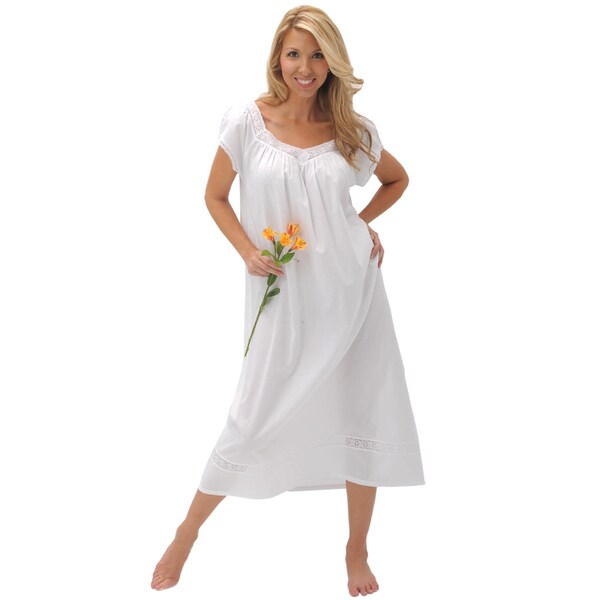 Alexander Del Rossa Women's 'Adele' White Cotton Nightgown