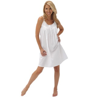 Alexander Del Rossa Women's 'Priscilla' White Cotton Nightgown
