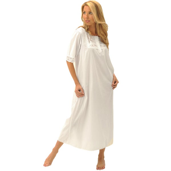 Alexander Del Rossa Women's 'Nadia' White Cotton Nightgown