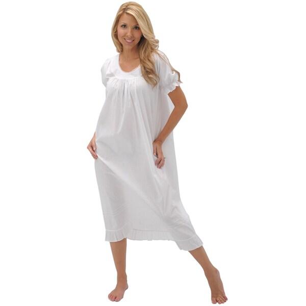 Alexander Del Rossa Women's 'Farrah' White Cotton Nightgown