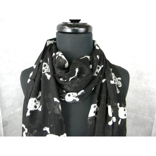 Black Skull And Cross Bones Fashion Scarf