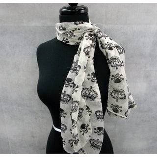 Creamy White Black Skull and Crown Sheer Fashion Scarf