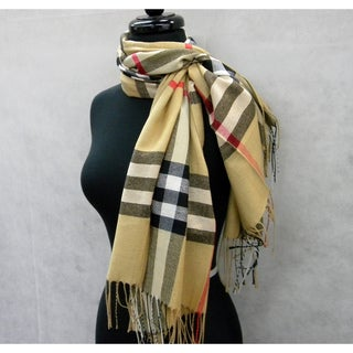 Camel Plaid Acrylic  Fringed Fashion Scarf