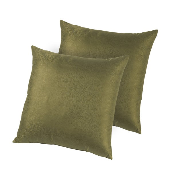 Hotel Madison Silk Jacquard Down-like Decorative Pillows (Set of 2)