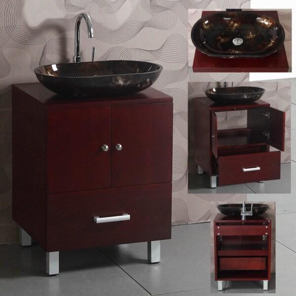 Wood Top 22-inch Single Glass Sink Bathroom Vanity