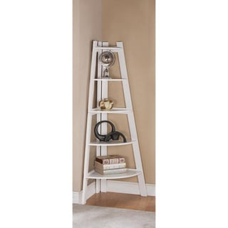 White 5-tier Wooden Corner Bookshelf