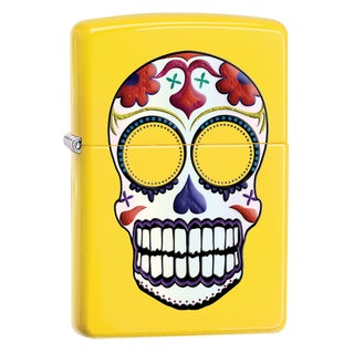 Zippo Matte Yellow Finish and Day of the Dead Design Lighter
