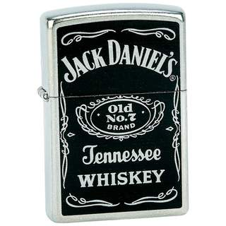 Zippo Matte Chrome Finish and Jack Daniel's Logo Lighter