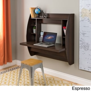 Broadway Black Floating Desk with Storage