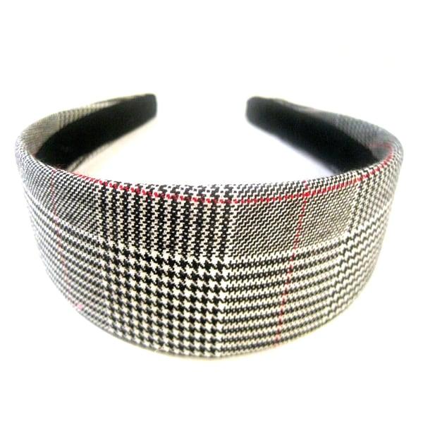Crawford Corner Shop Black White Suiting Plaid Headband