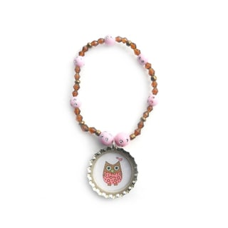 Boutique Owl Bottle Cap Bracelet
