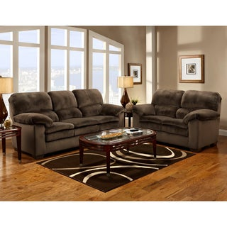 Furniture of America Denny 2-piece Dark Mocha Sofa/Love Set