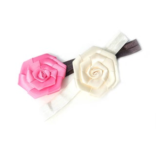 Boutique Satin Rose Flower Headbands (Set of 2)