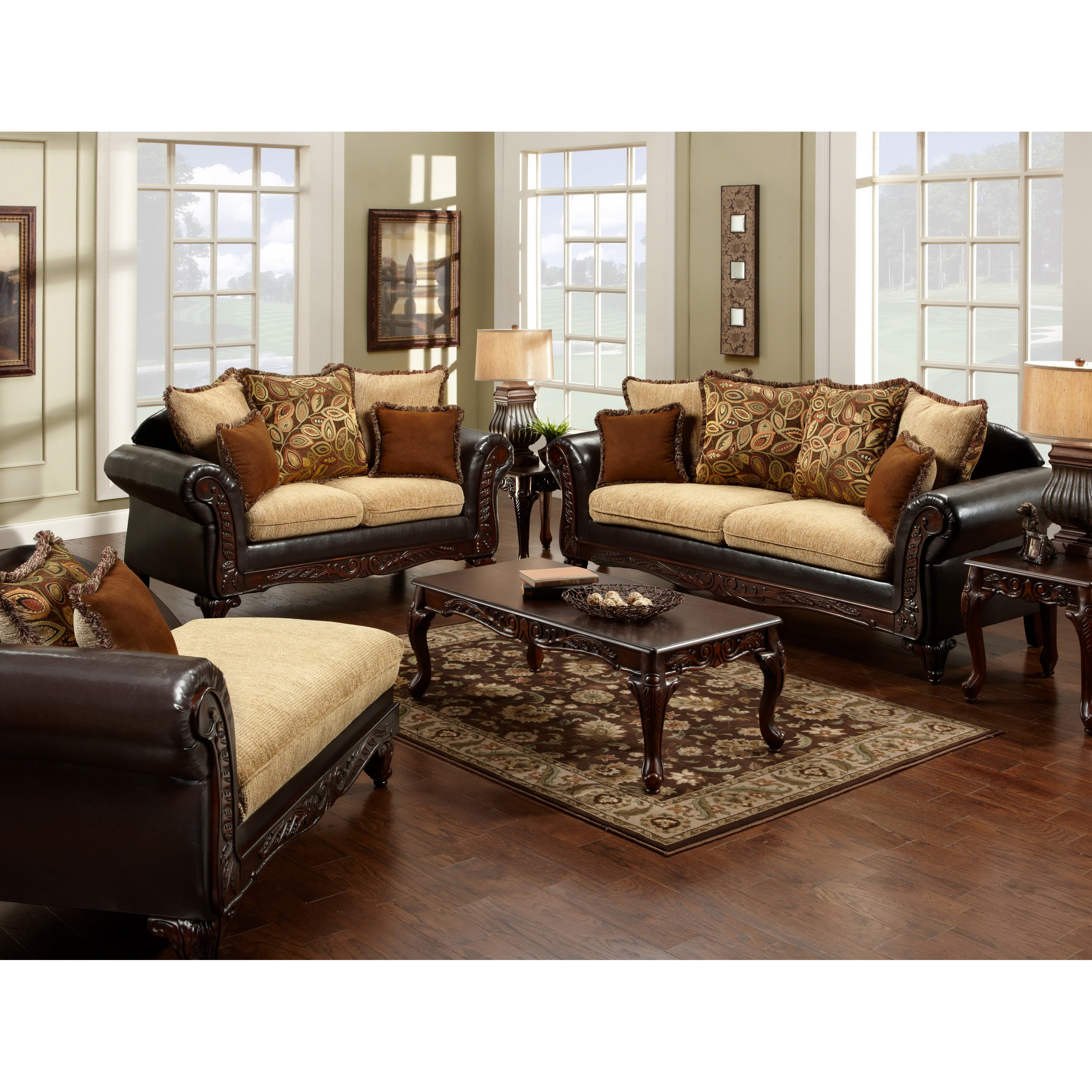 Furniture of america 39 nicolai 39 2 piece sofa set for Sofa set deals