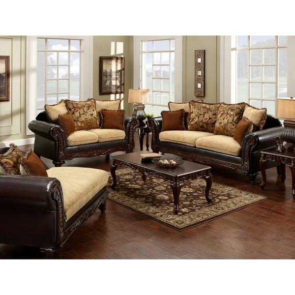 Furniture of america 39 nicolai 39 2 piece sofa set 14790386 for Furniture of america reviews