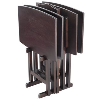 Bianco Collection Espresso Tray Table Set