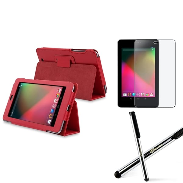 INSTEN Red Phone Case Cover/ Screen Protector/ Stylus for Google Nexus 7