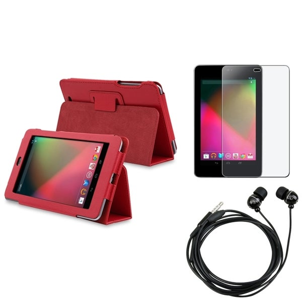Magnetic BasAcc Red Case/Screen Protector/Headset for Google Nexus 7