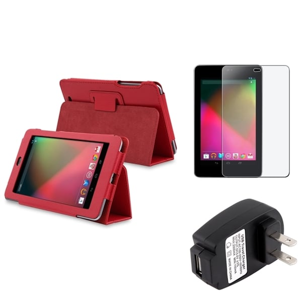 INSTEN Red Phone Case Cover/ Screen Protector/ Charger for Google Nexus 7
