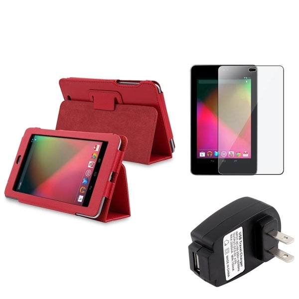 BasAcc Red Case/ Screen Protector/ Charger for Google Nexus 7